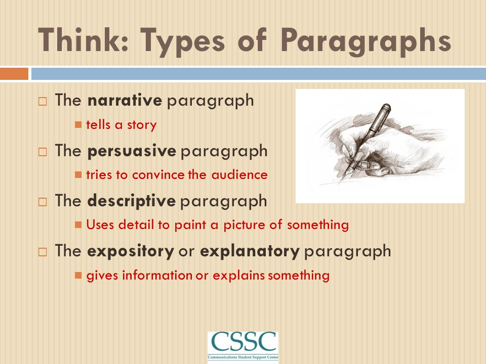 Think: Types of Paragraphs