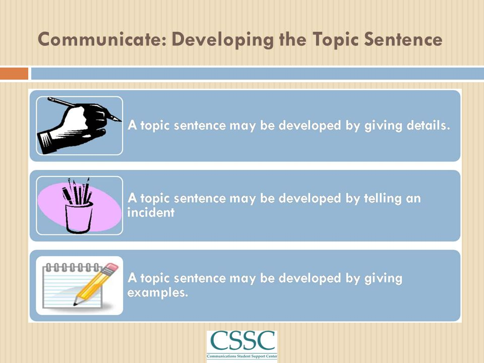 Communicate: Developing the Topic Sentence