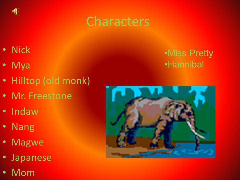 Characters Nick Mya Hilltop (old monk) Mr. Freestone Indaw Nang Magwe