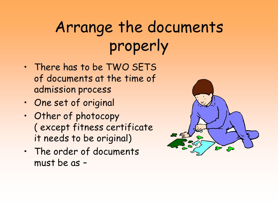 Arrange the documents properly