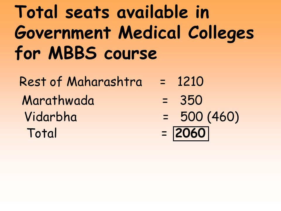 Total seats available in Government Medical Colleges for MBBS course