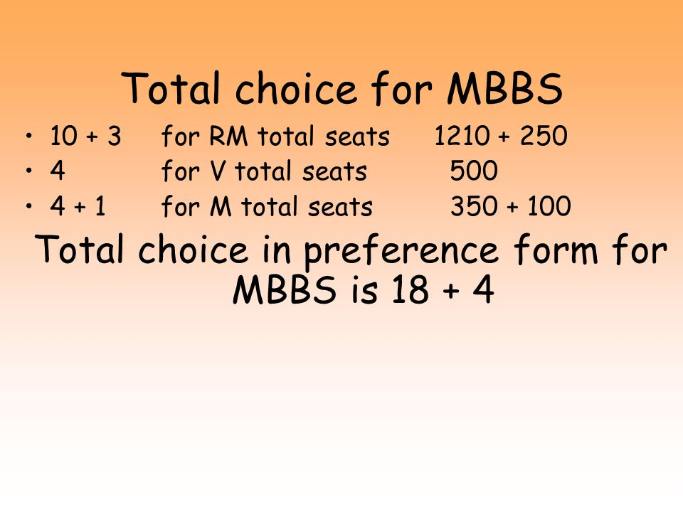 Total choice in preference form for MBBS is 18 + 4