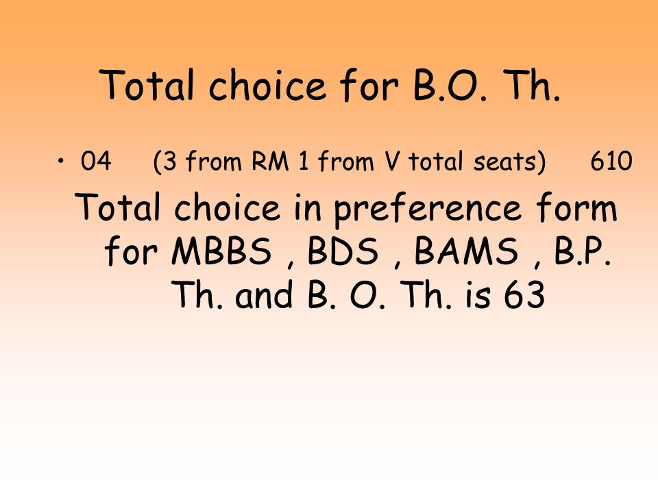 Total choice for B.O. Th. 04 (3 from RM 1 from V total seats) 610.