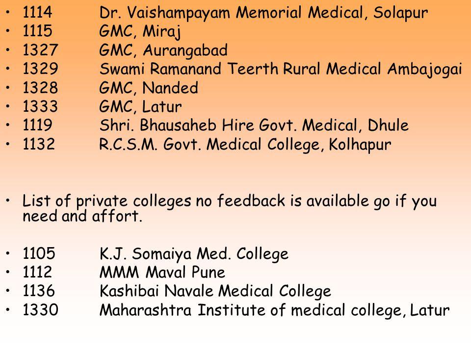1114 Dr. Vaishampayam Memorial Medical, Solapur