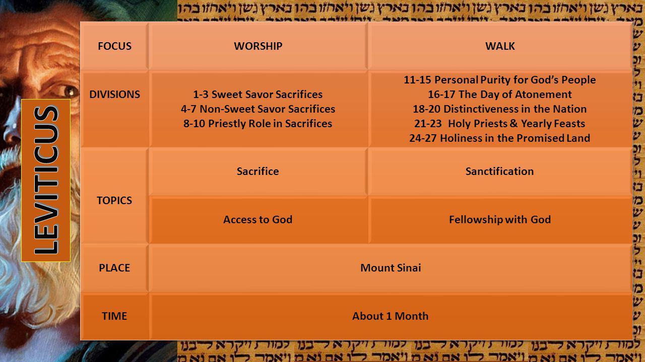 LEVITICUS FOCUS WORSHIP WALK DIVISIONS 1-3 Sweet Savor Sacrifices