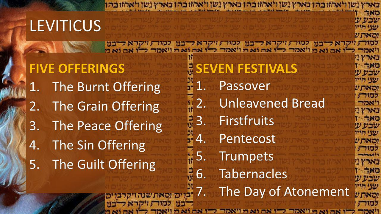LEVITICUS FIVE OFFERINGS SEVEN FESTIVALS The Burnt Offering