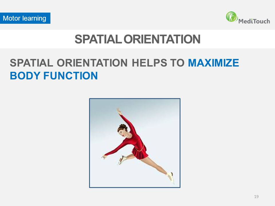 Motor learning SPATIAL ORIENTATION SPATIAL ORIENTATION HELPS TO MAXIMIZE BODY FUNCTION