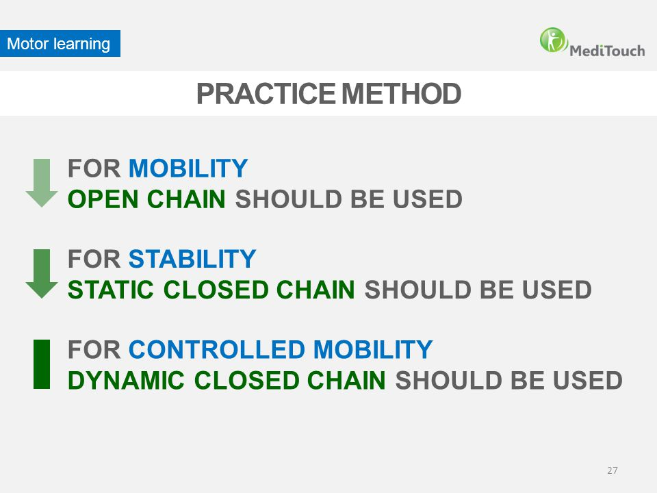 PRACTICE METHOD FOR MOBILITY OPEN CHAIN SHOULD BE USED FOR STABILITY