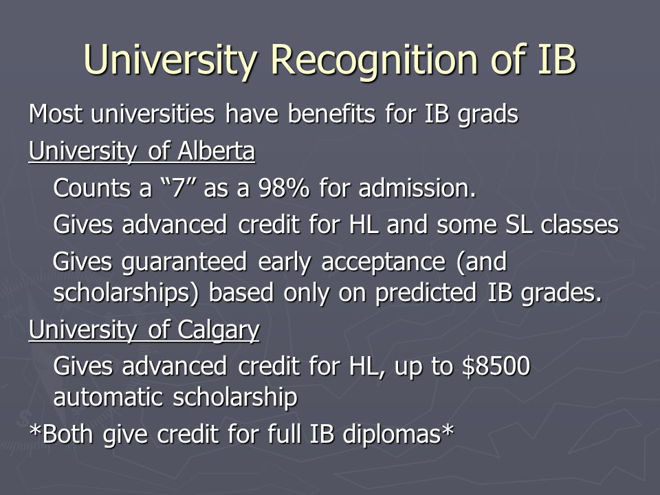 University Recognition of IB