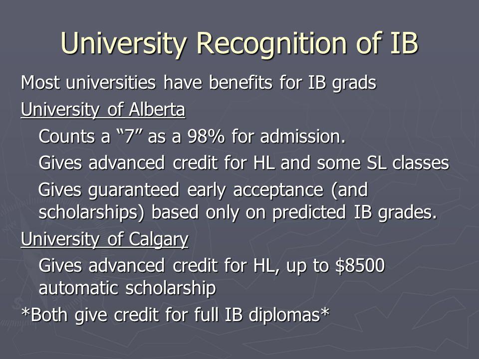 University Recognition of IB