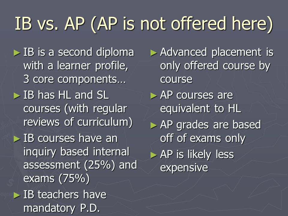 IB vs. AP (AP is not offered here)
