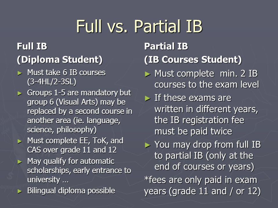 Full vs. Partial IB Full IB (Diploma Student) Partial IB