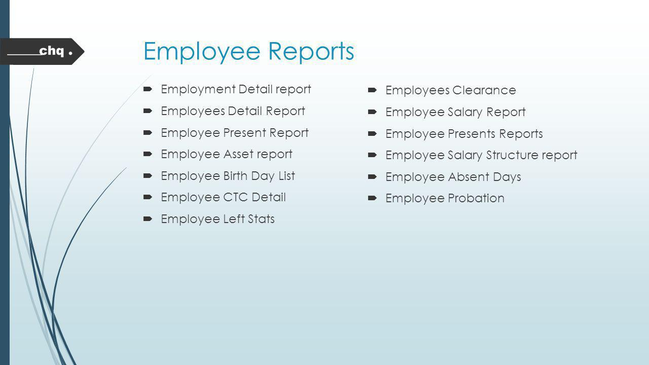 Employee Reports Employment Detail report Employees Clearance
