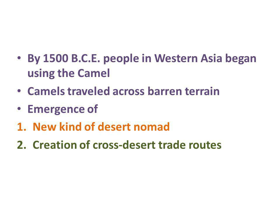 By 1500 B.C.E. people in Western Asia began using the Camel