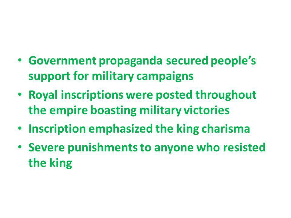 Government propaganda secured people's support for military campaigns