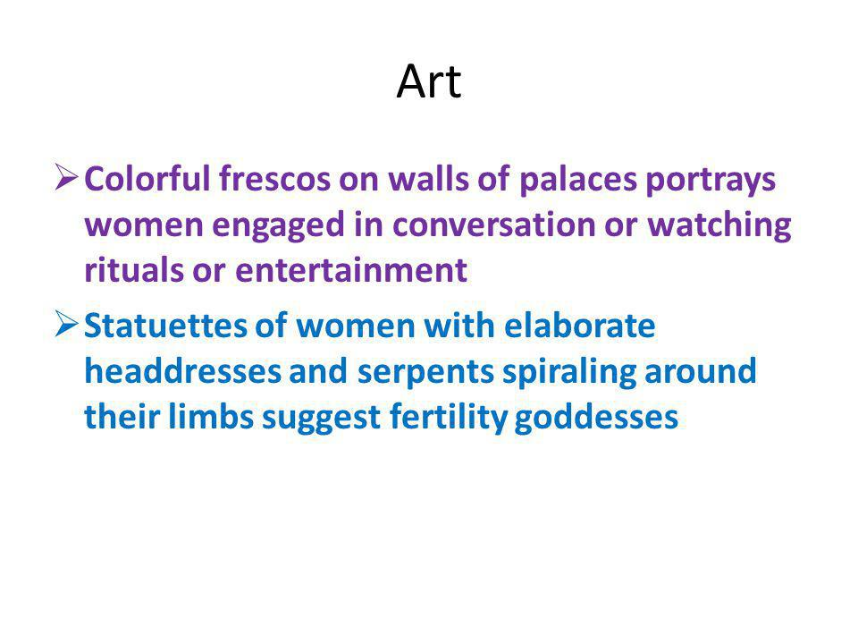Art Colorful frescos on walls of palaces portrays women engaged in conversation or watching rituals or entertainment.