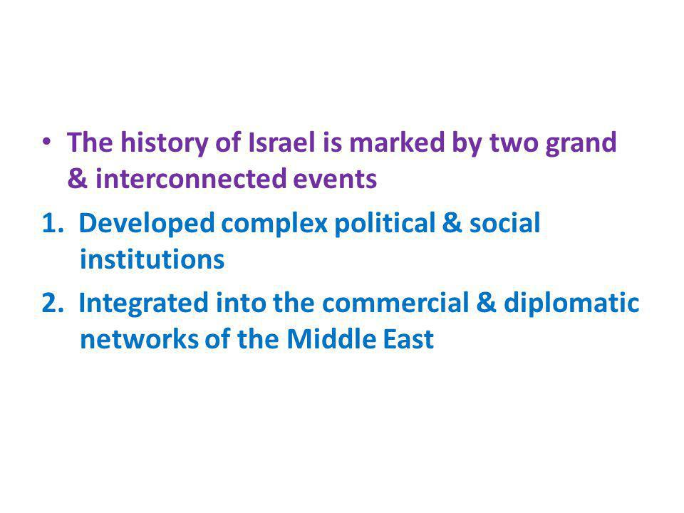 The history of Israel is marked by two grand & interconnected events