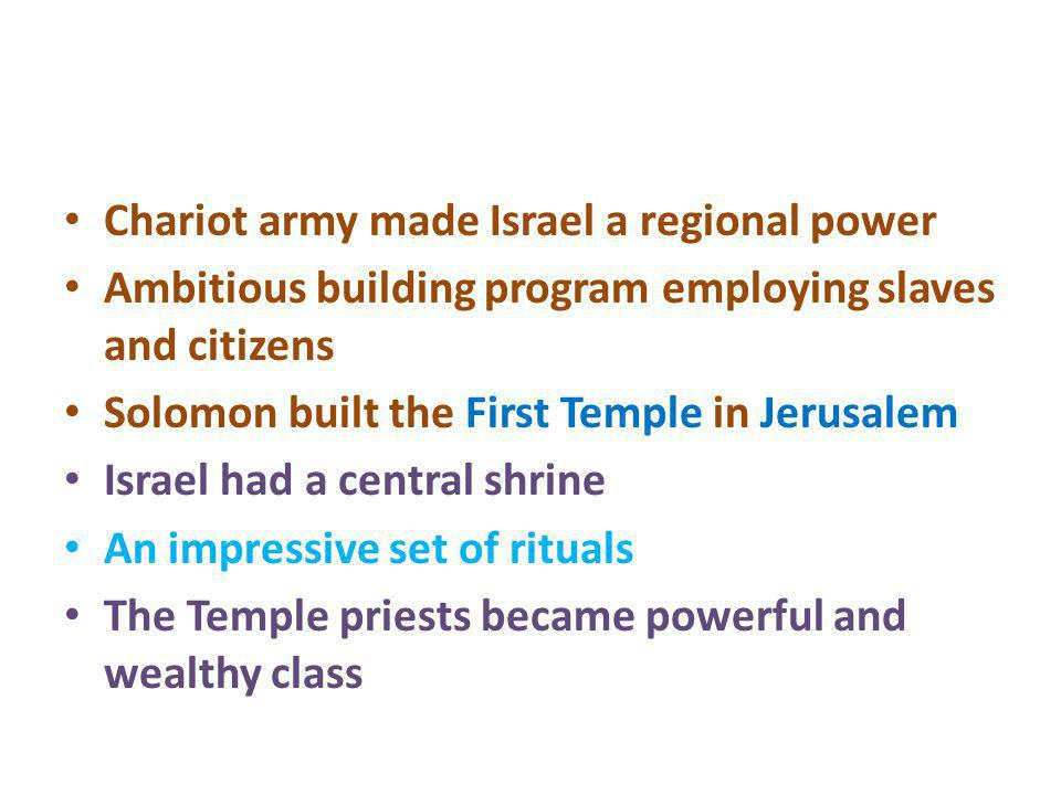 Chariot army made Israel a regional power