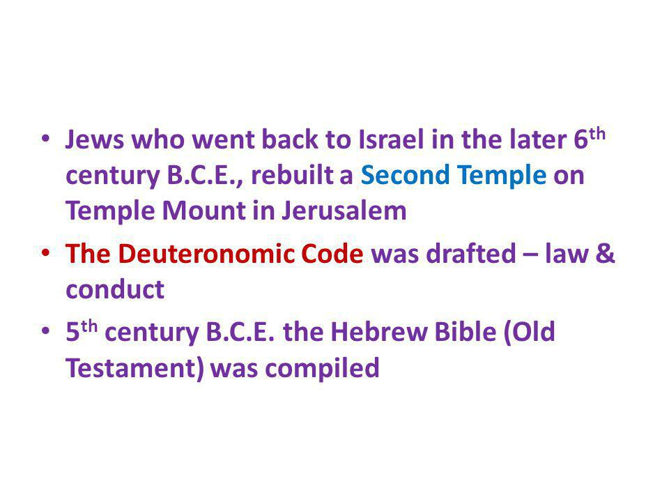 Jews who went back to Israel in the later 6th century B. C. E