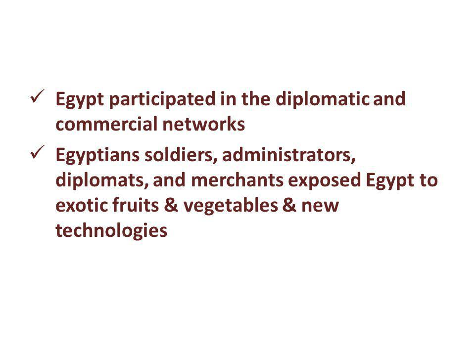 Egypt participated in the diplomatic and commercial networks