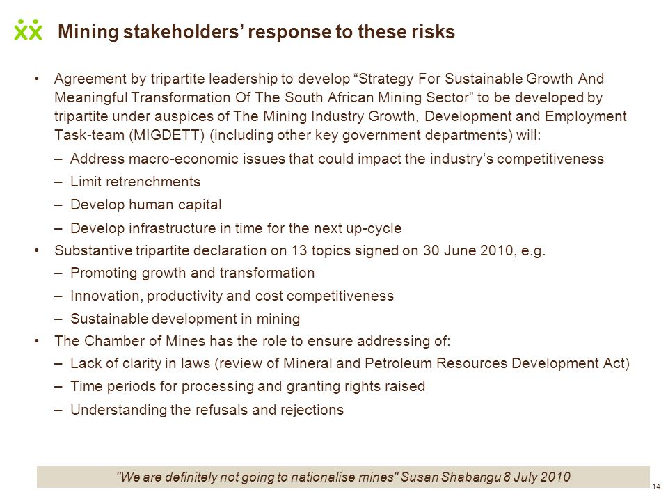 Mining stakeholders' response to these risks