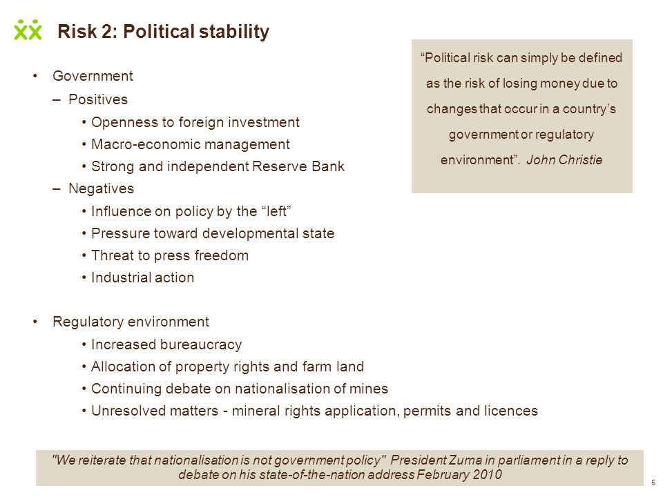 Risk 2: Political stability
