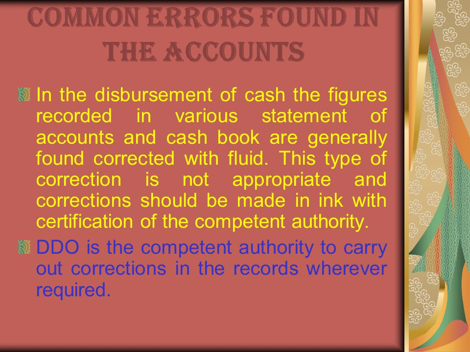 Common errors found in the Accounts