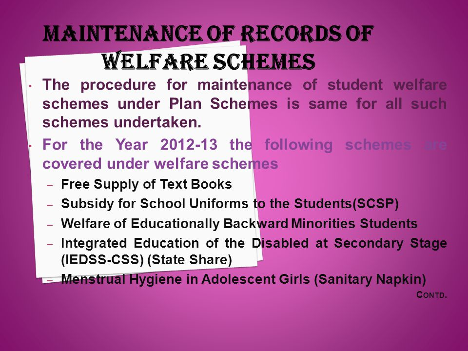 MAINTENANCE OF RECORDS OF WELFARE SCHEMES