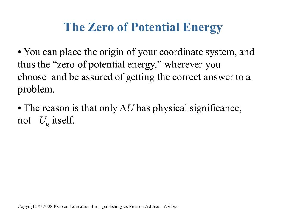 The Zero of Potential Energy