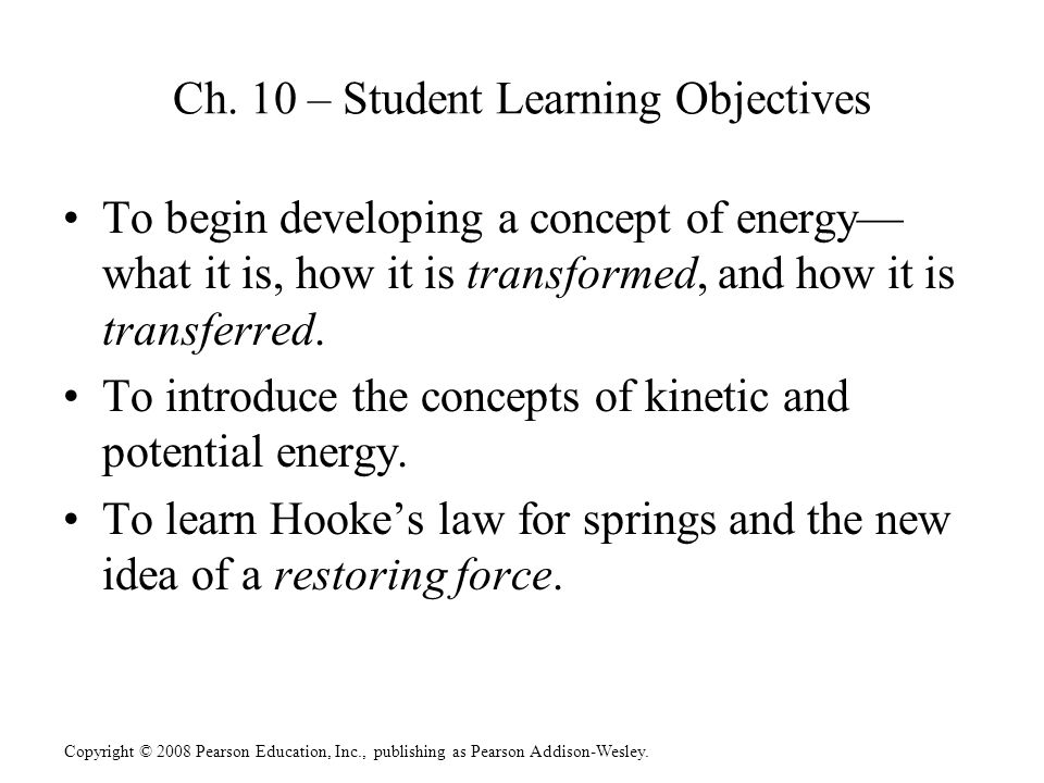 Ch. 10 – Student Learning Objectives