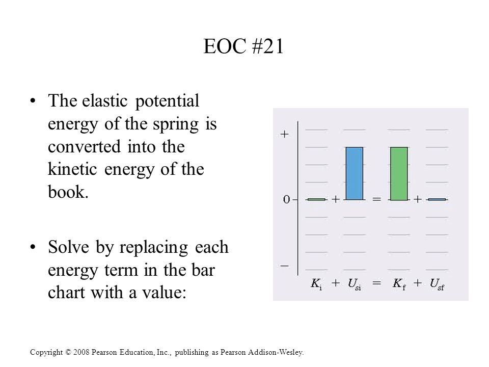 EOC #21 The elastic potential energy of the spring is converted into the kinetic energy of the book.