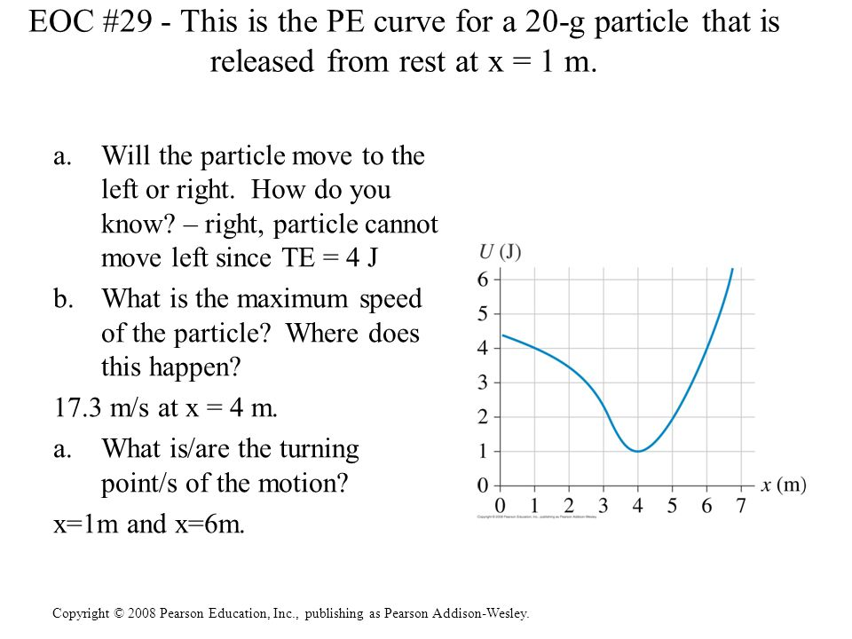 EOC #29 - This is the PE curve for a 20-g particle that is released from rest at x = 1 m.