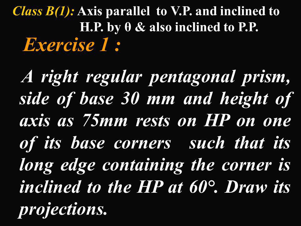 Class B(1): Axis parallel to V. P. and inclined to H. P