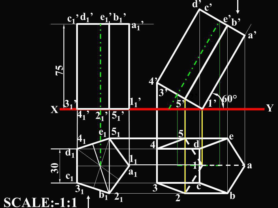 SCALE:-1:1 c' d' b' e' c1' d1' e1' b1' a1' 75 a' 2' 5' 4' 3' 60° 11'
