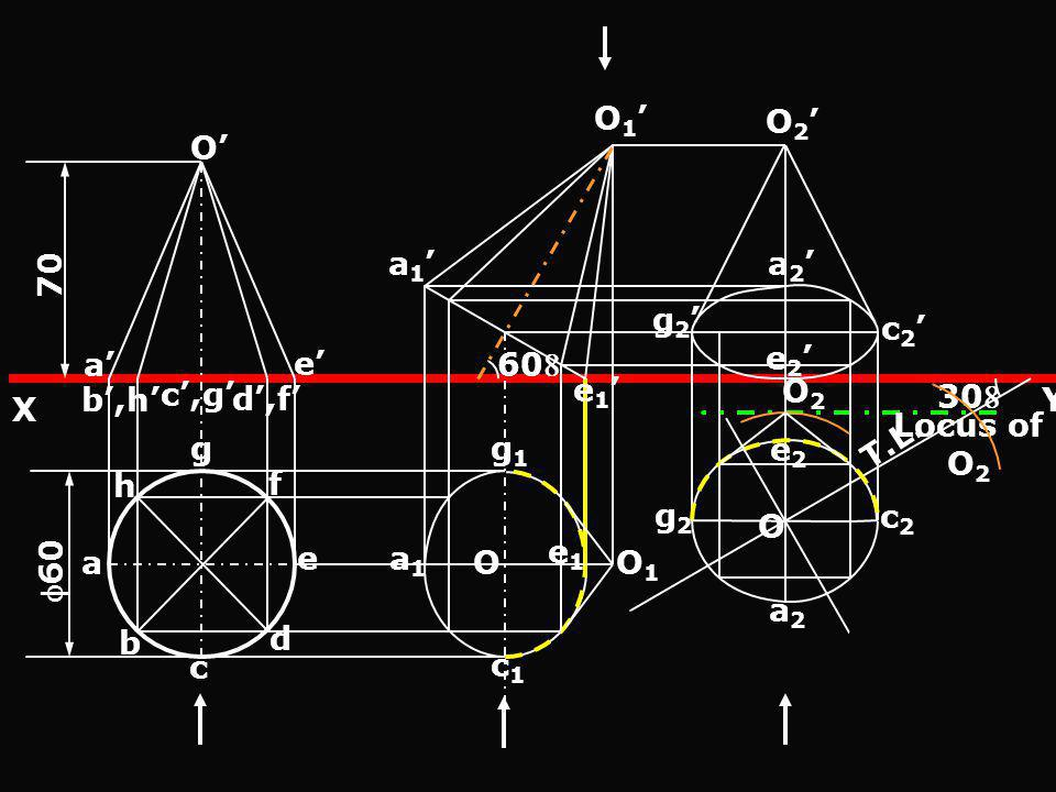 e1' a1' O1' 60 O2' O' 70. a2' g2' c2' e2' a' e' Y. X. b',h' c',g' O2. d',f' 30 Locus of O2.