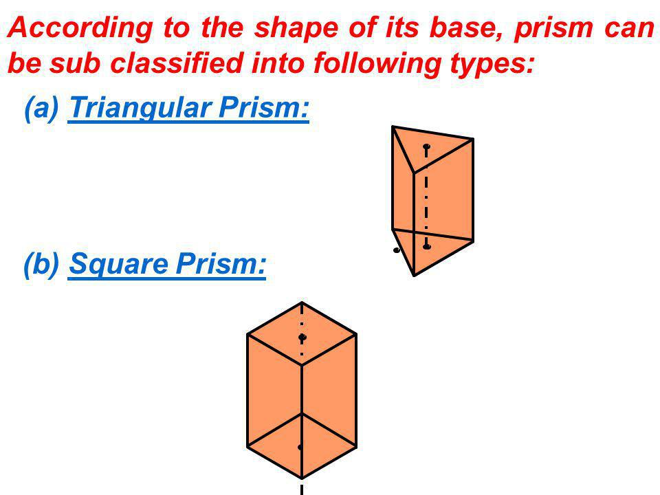 According to the shape of its base, prism can be sub classified into following types:
