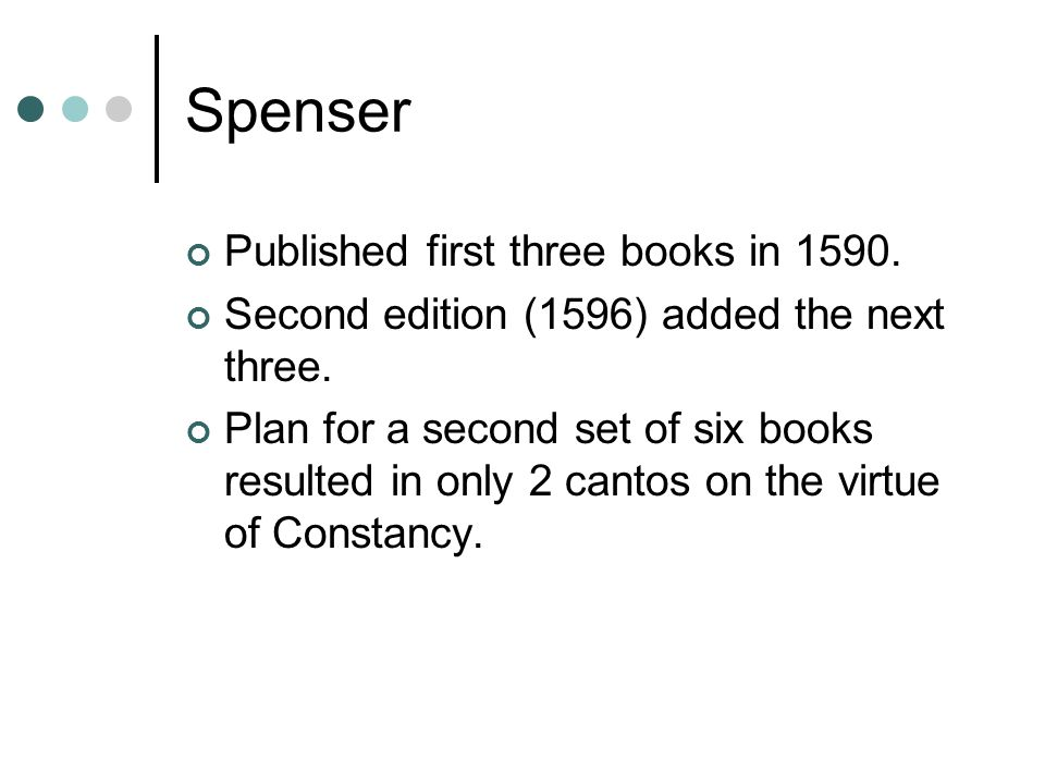 Spenser Published first three books in 1590.