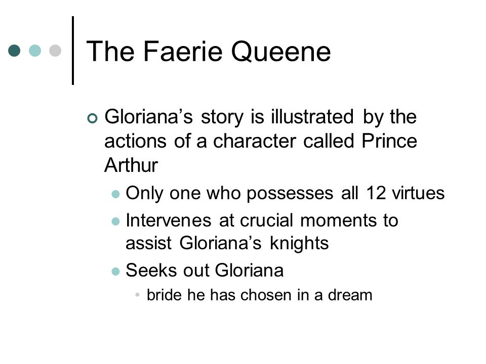 The Faerie Queene Gloriana's story is illustrated by the actions of a character called Prince Arthur.