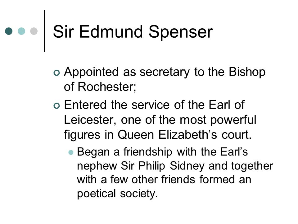 Sir Edmund Spenser Appointed as secretary to the Bishop of Rochester;