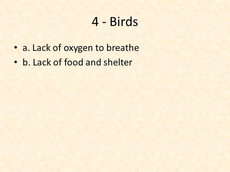 4 - Birds a. Lack of oxygen to breathe b. Lack of food and shelter