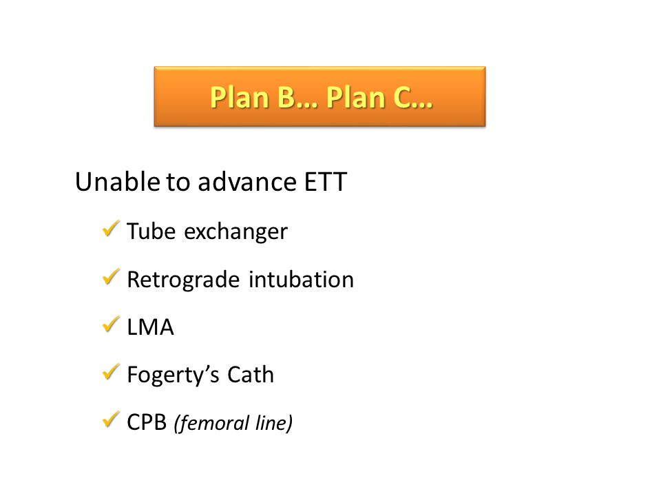 Plan B… Plan C… Unable to advance ETT Tube exchanger