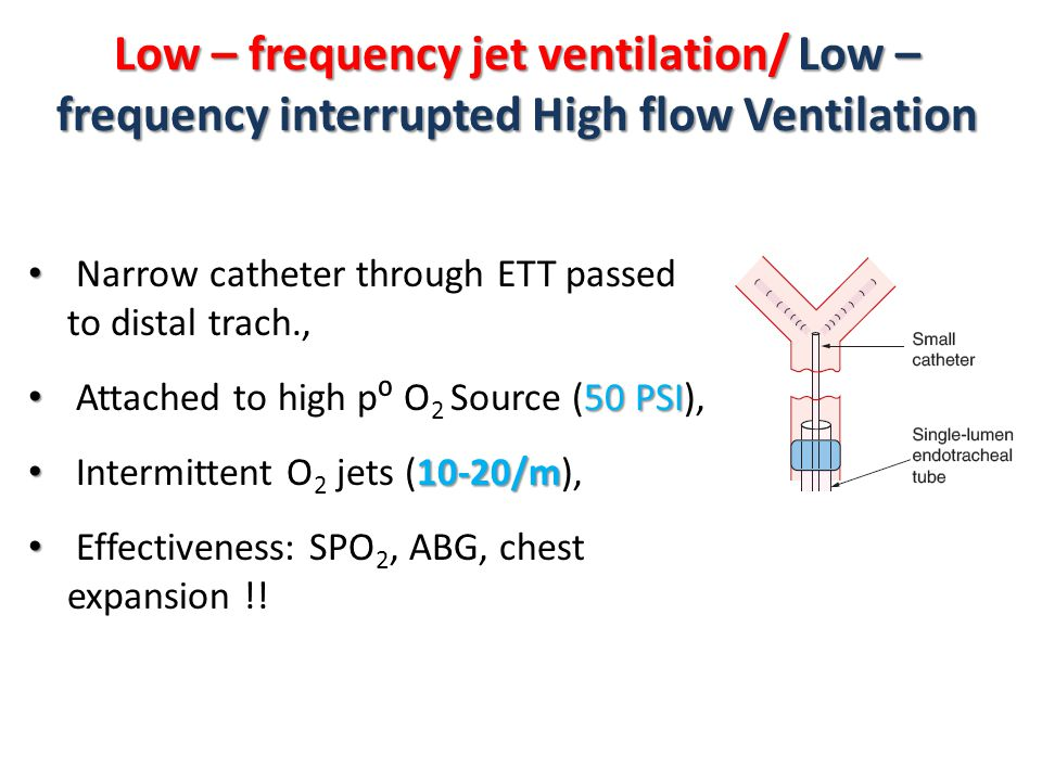 Low – frequency jet ventilation/ Low – frequency interrupted High flow Ventilation