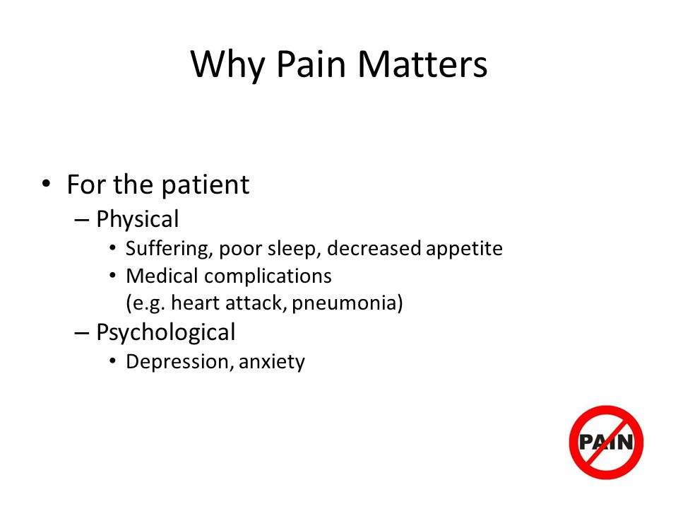 Why Pain Matters For the patient Physical Psychological