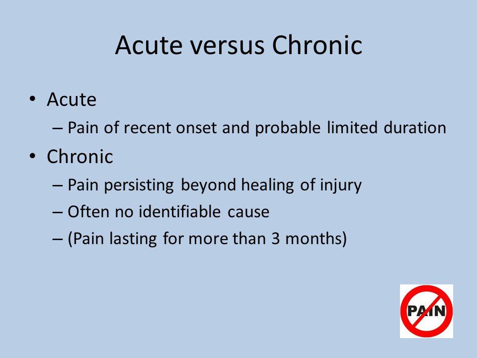 Acute versus Chronic Acute Chronic