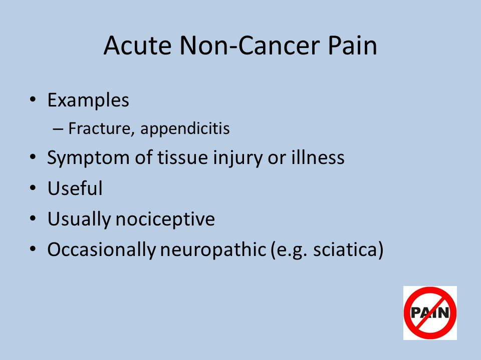 Acute Non-Cancer Pain Examples Symptom of tissue injury or illness