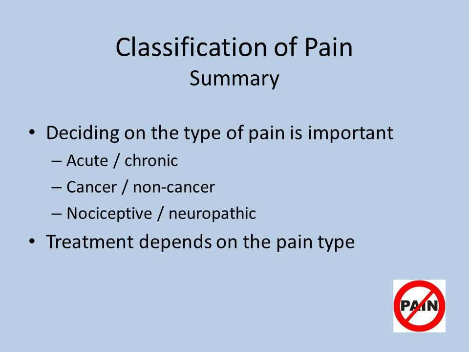 Classification of Pain Summary