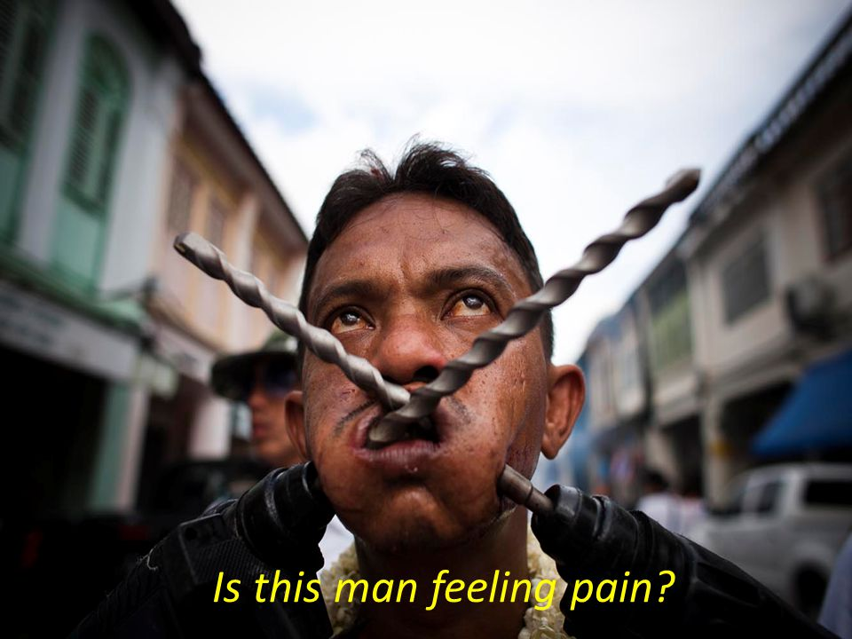 Is this man feeling pain