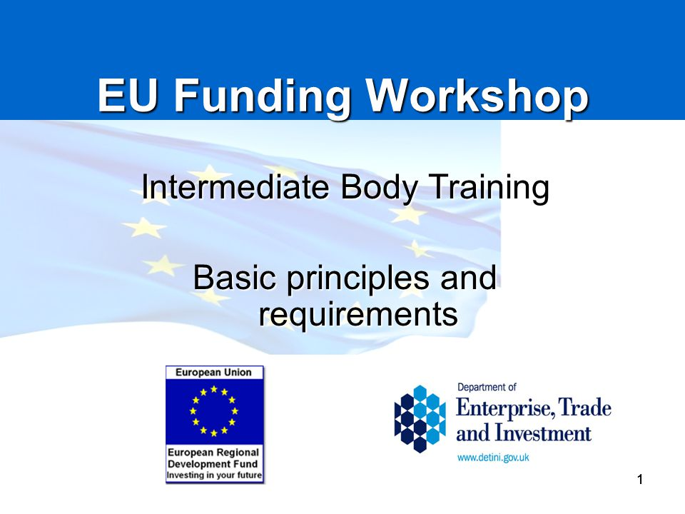EU Funding Workshop Intermediate Body Training