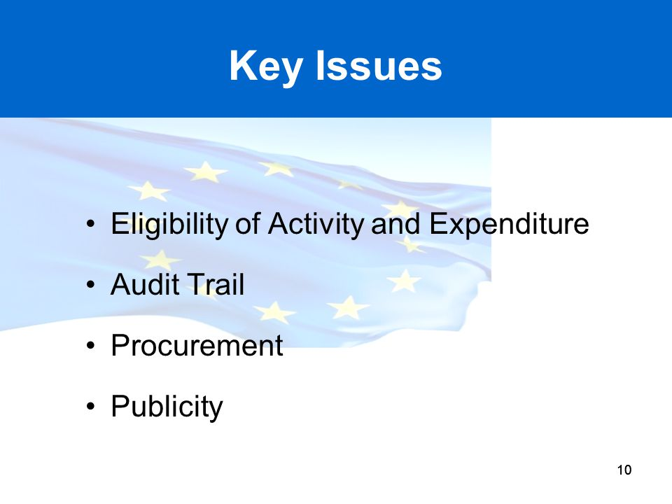 Key Issues Eligibility of Activity and Expenditure Audit Trail