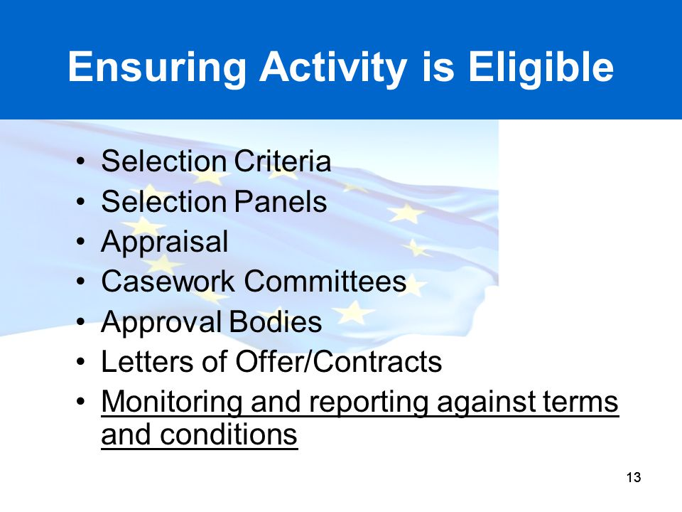 Ensuring Activity is Eligible